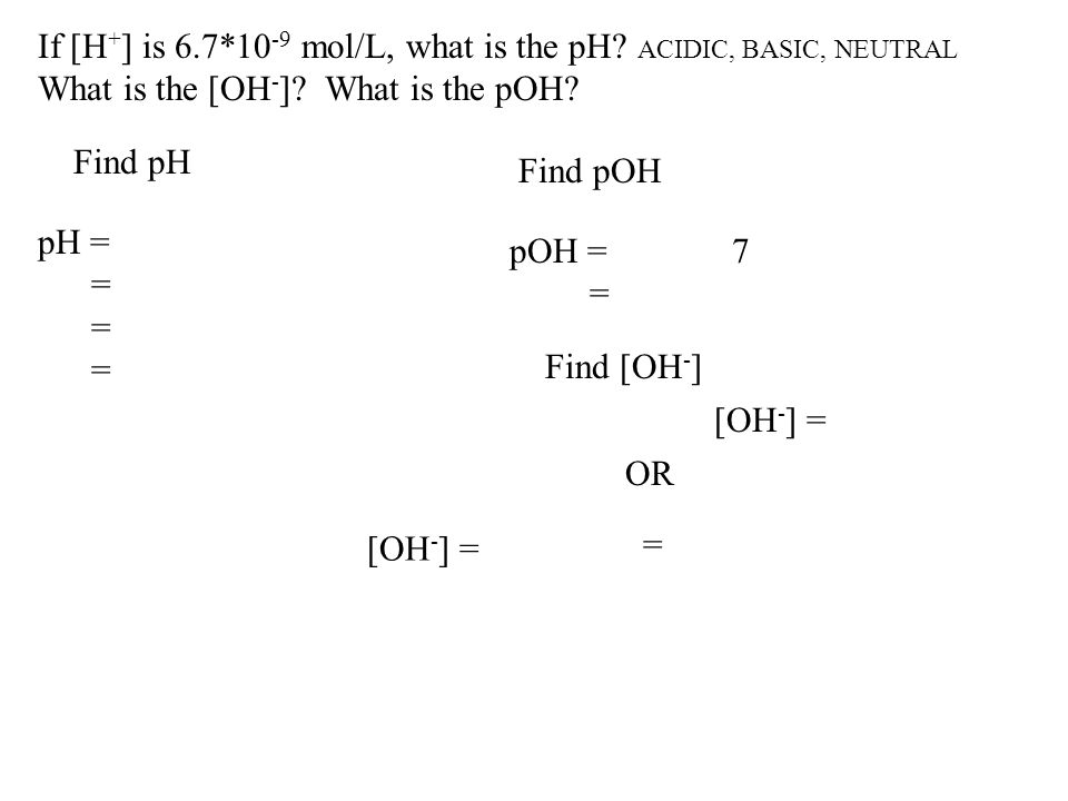 If [H+] is 6.7*10-9 mol/L, what is the pH ACIDIC, BASIC, NEUTRAL